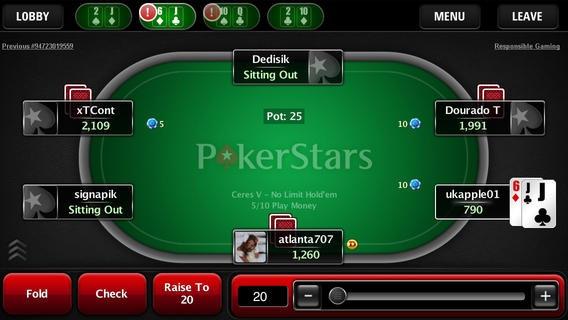 The PokerStars Mobile room